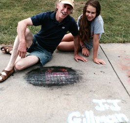 Jackson and Jillian's chalked art - after being run over